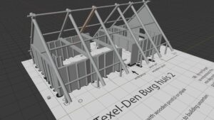 Model of an early medieval farmhouse made by student Digital archaeology