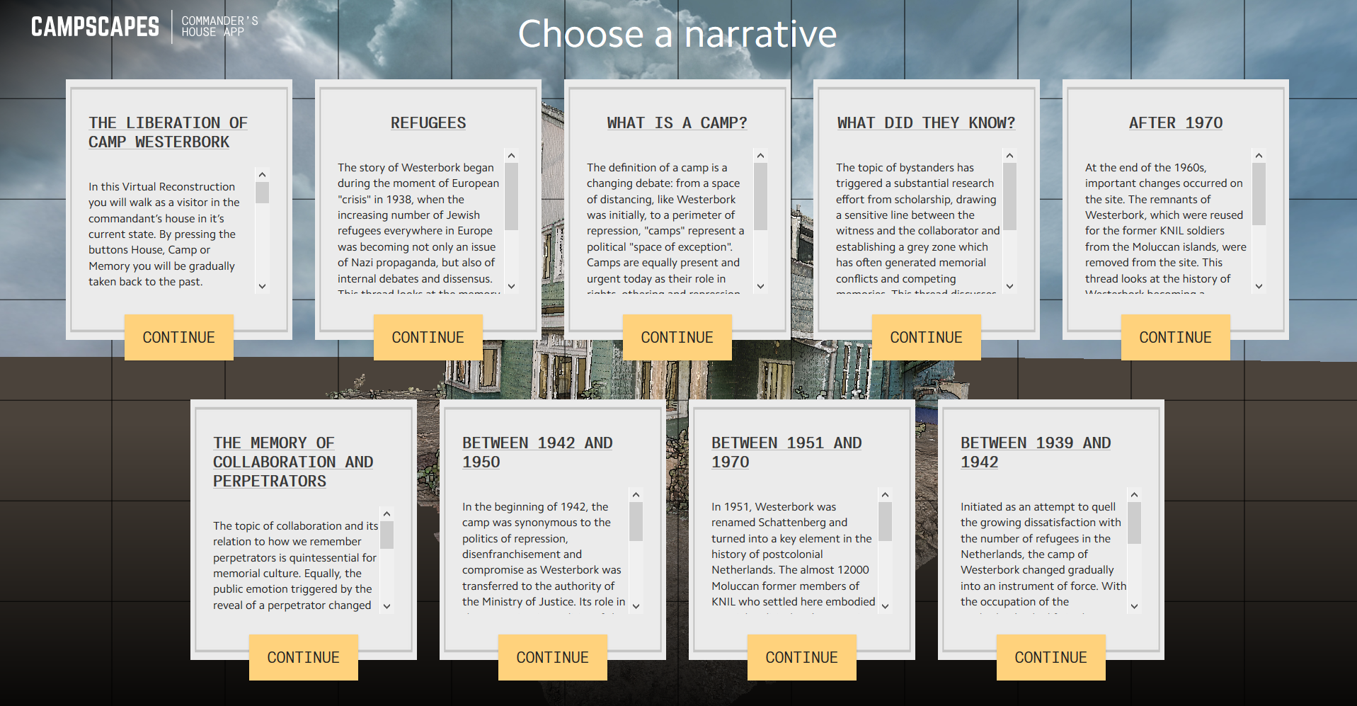 Selection screen for narratives, covering different perspectives on the Commander's house.