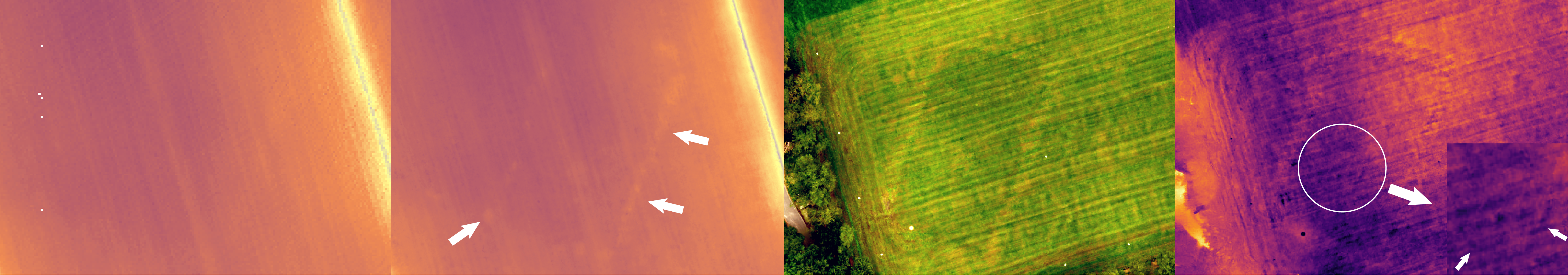 Siegerswoude (NL), left LiDAR data vs IBM data,  right (other location) drone orthophoto vs thermal imagery (inset anomaly)
