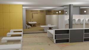 Model in progress, integration of design drawings in a Blender environment.