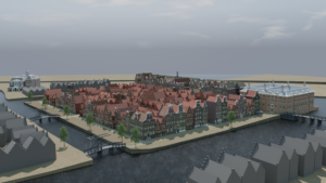 Reconstruction of Vlooienburg from the viewpoint of the Zuiderkerkertoren, late 17th c.