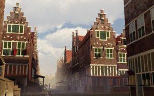 Photorealistic atmospheric render of the Lange Houtstraat at the crossroads with the Korte Houtstraat, looking at the Leprozengracht