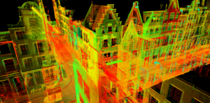 Snapshot of 3D laserscan data captured in the Bloemstraat.