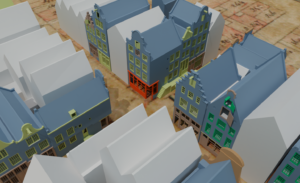3D models of the 18th century Bloemstraat, colours indicating degrees of confidence based on the quality of the historical sources.