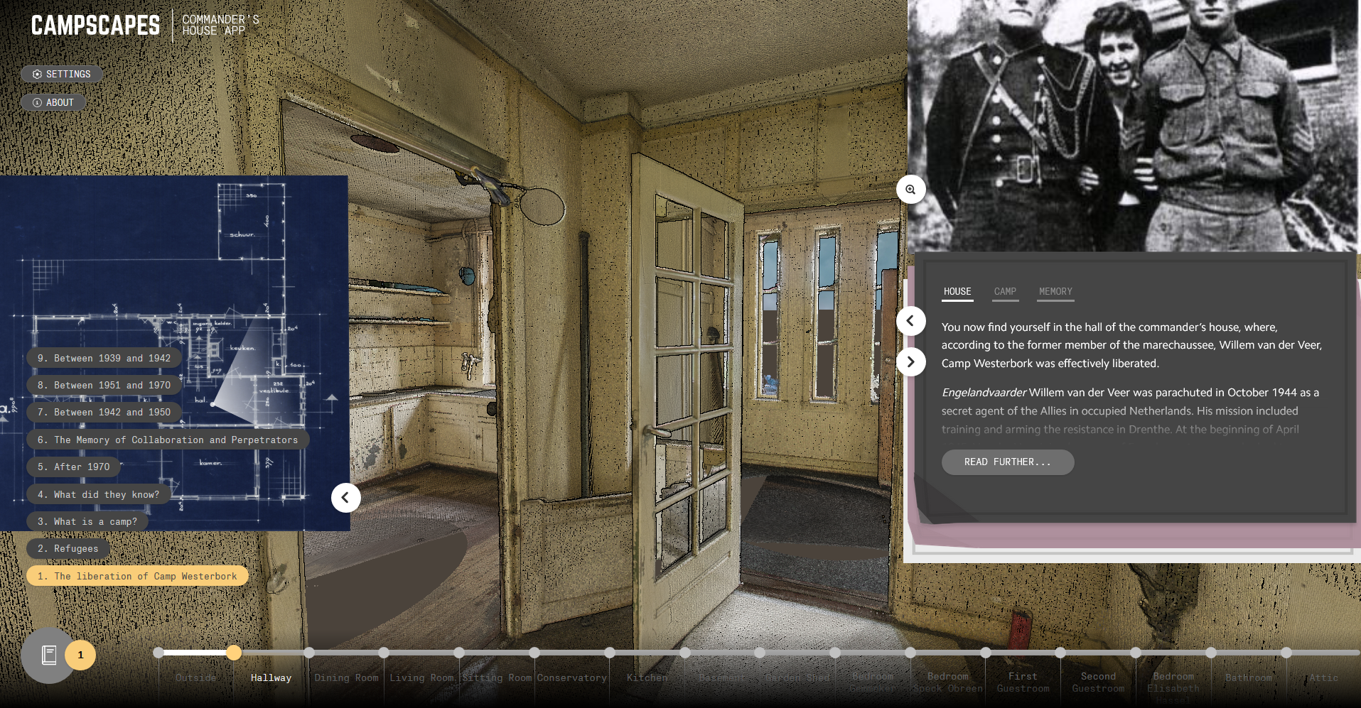 Interface of the Commander's House app, with minimap, information panels, progress slider and narrative selection.