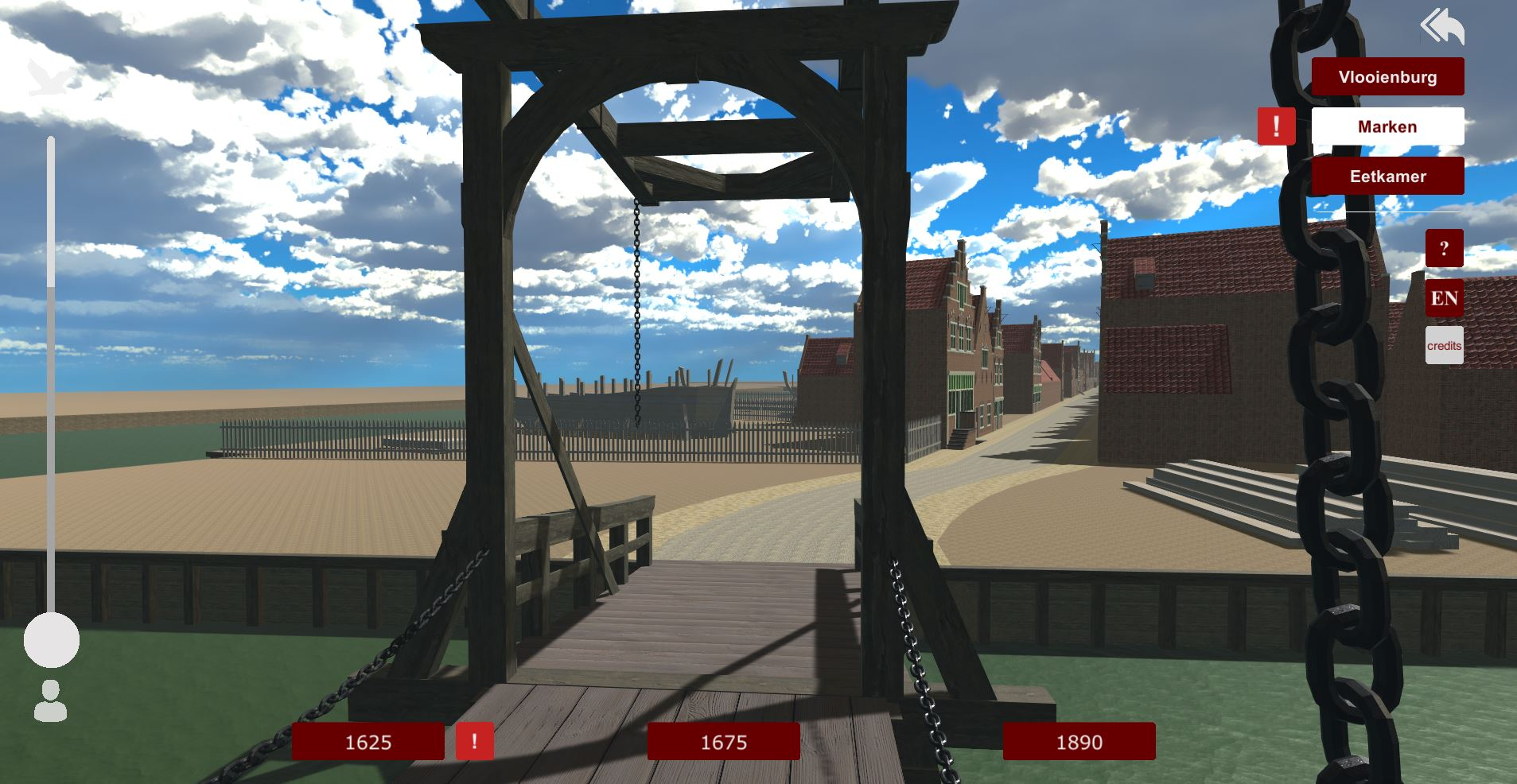 Screenshot from the VR, looking from the drawbridge unto the Valkenburgerstraat, early 17th c.