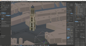 The architectural scale model of the tower placed in 3D environment used to position and match cameras.