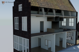 Van Leeuwenhoek's lab was located in the small room on the second floor, facing the street.