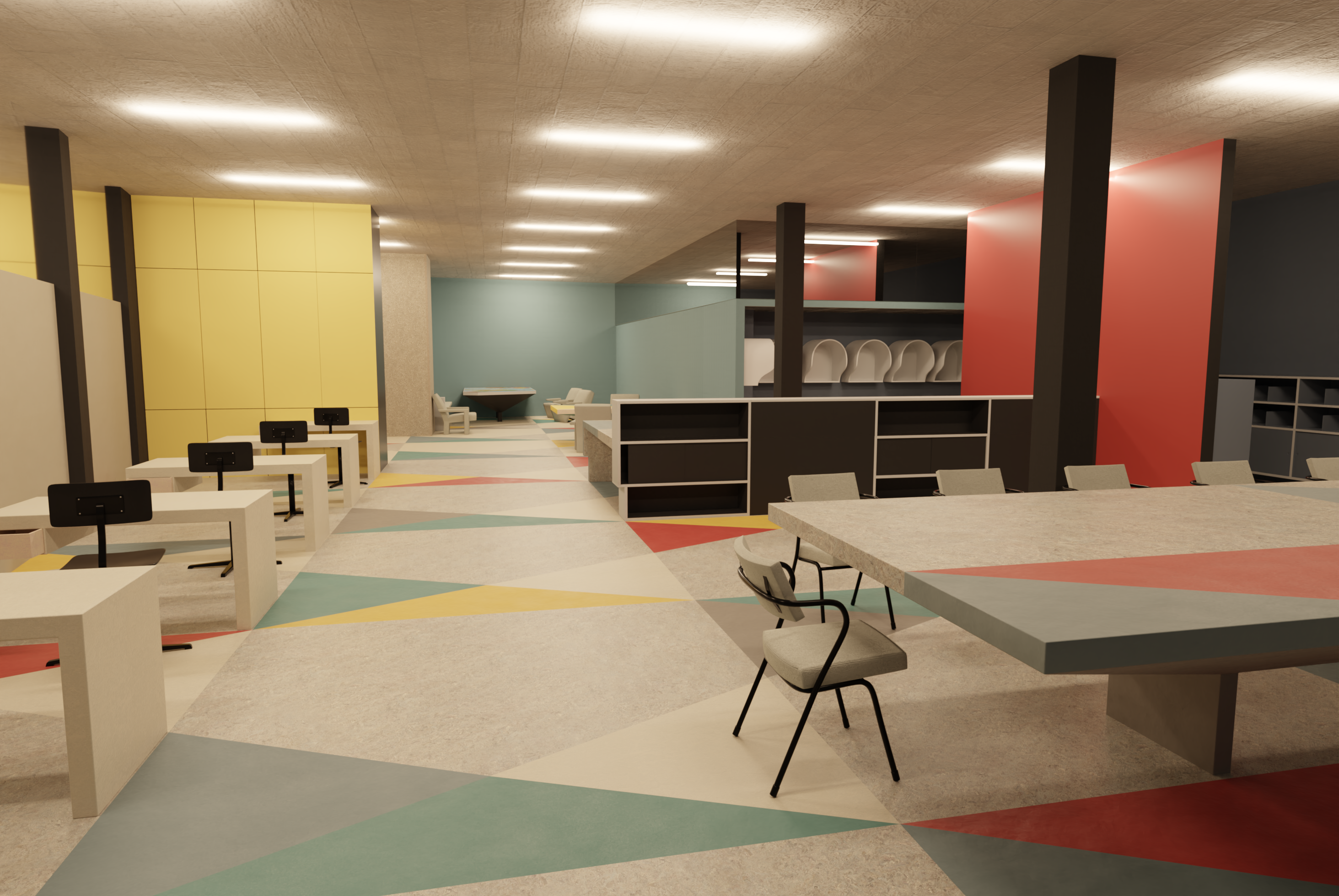 Render of the Pressroom from the same perspective as the photo. Colours based on colour measurement on original linoleum samples.
