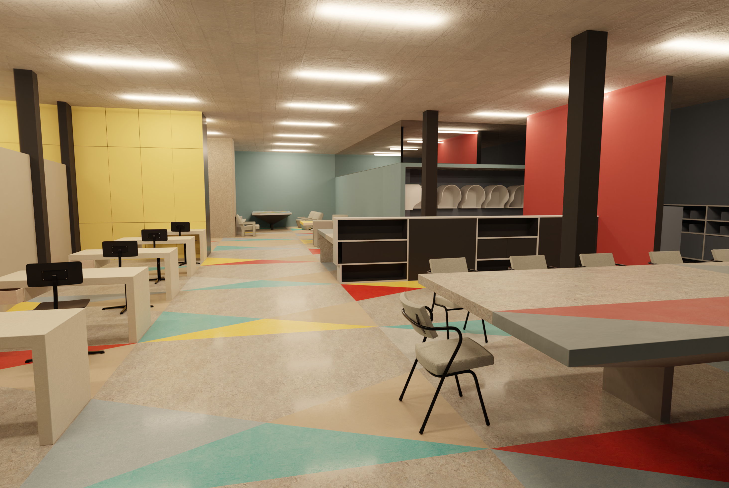 Render of the Pressroom using colours available in the current FORBO collection, with a modern, glossy coating.