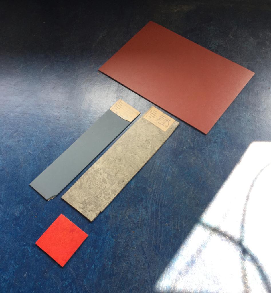 Historical linoleum samples on top of a modern linoleum floor. Photo by Santje Pander.