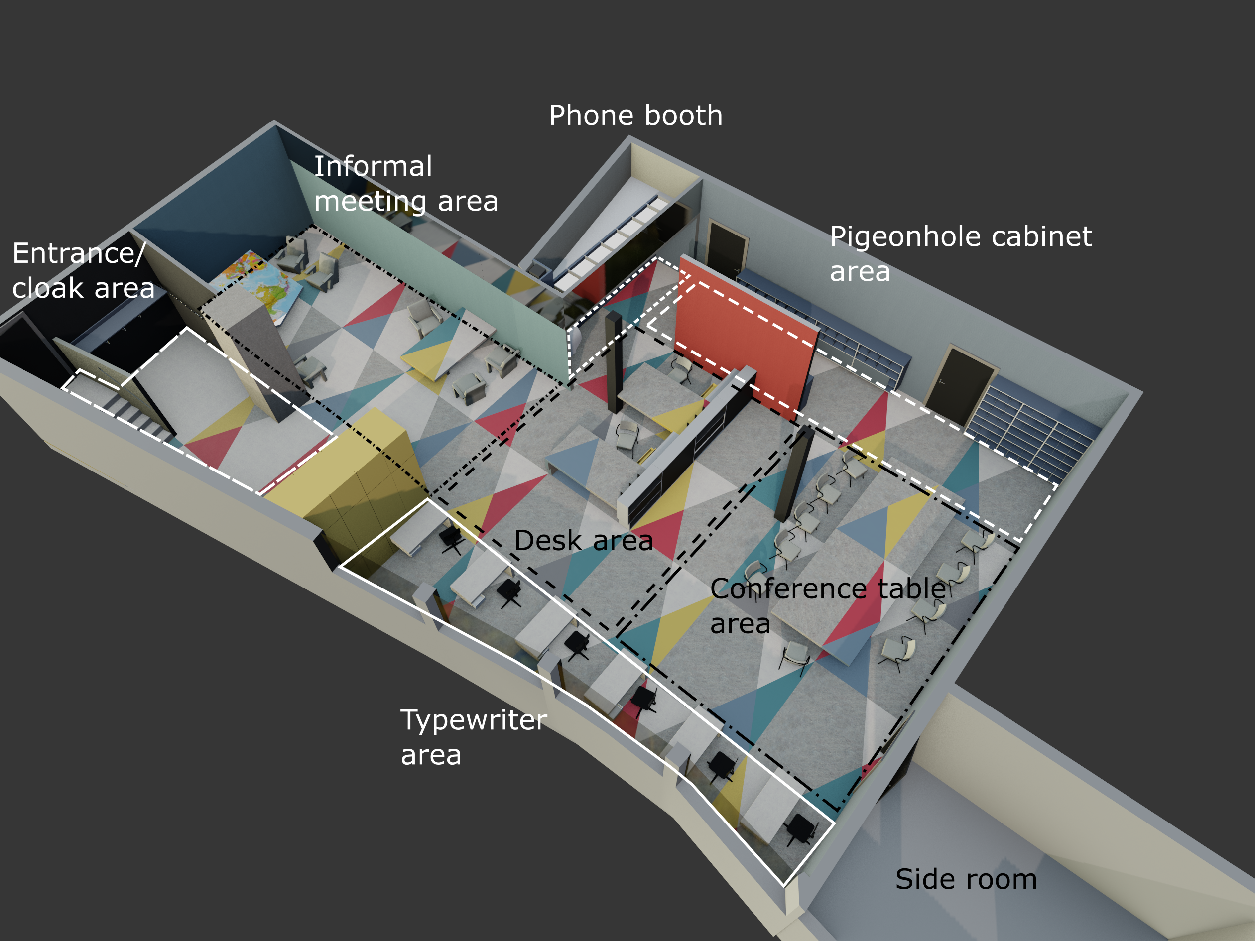 The UNESCO Pressroom, design and spatial divisions, render of the 3D model.
